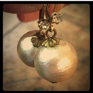 Anthropologie pearl and crystal drop earrings